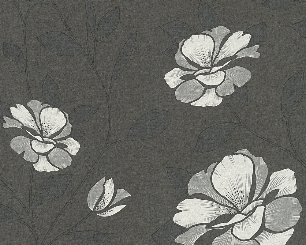 Floral Nature Wallpaper in Grey and Black design by BD Wall
