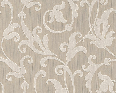 Floral Scrollwork Wallpaper in Beige design by BD Wall
