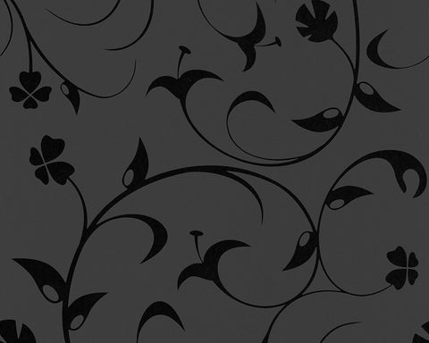 Floral Scrollwork Wallpaper in Black design by BD Wall