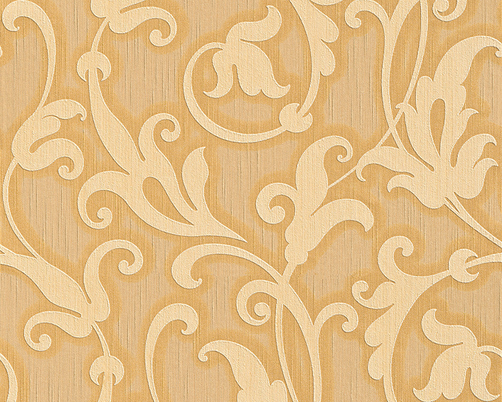 Sample Floral Scrollwork Wallpaper in Cream and Orange design by BD Wall