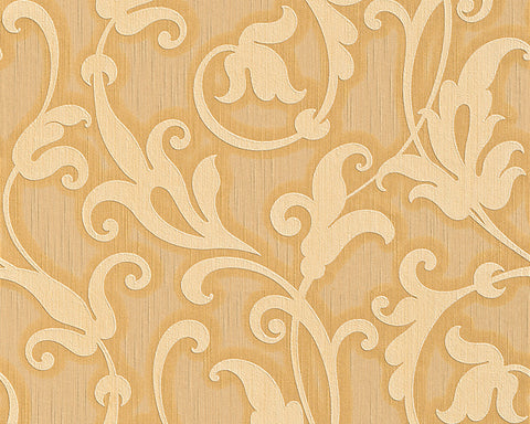 Floral Scrollwork Wallpaper in Cream and Orange design by BD Wall