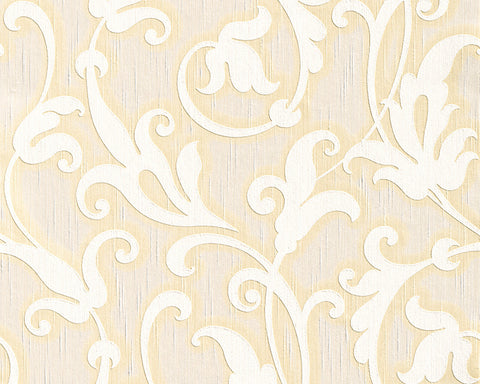 Floral Scrollwork Wallpaper in Cream design by BD Wall