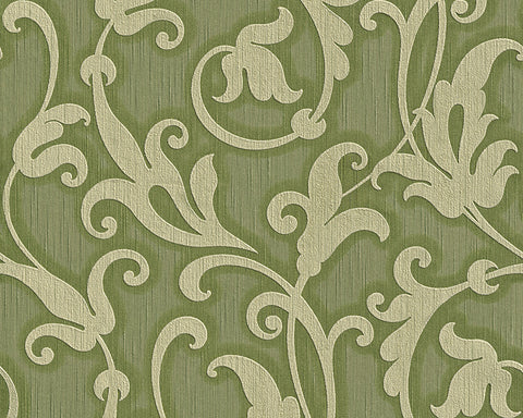Floral Scrollwork Wallpaper in Green design by BD Wall
