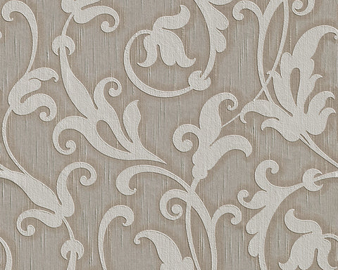 Floral Scrollwork Wallpaper in Grey and Neutrals design by BD Wall