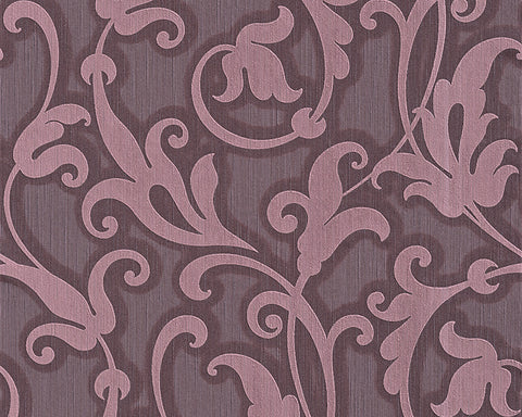 Floral Scrollwork Wallpaper in Purple design by BD Wall
