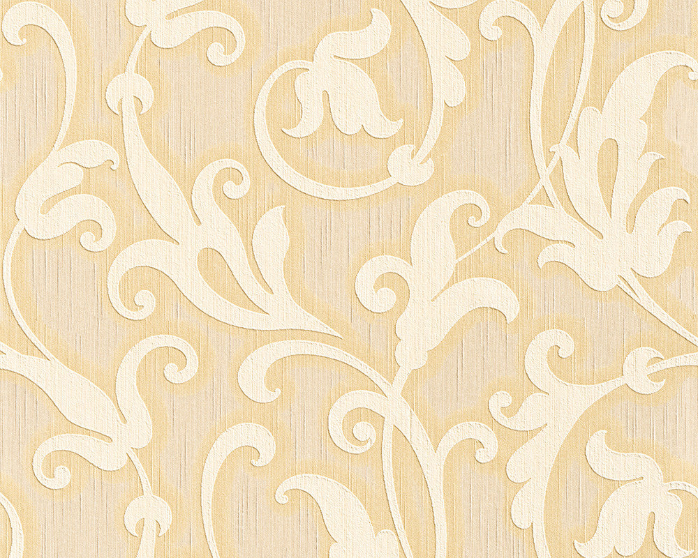 Floral Scrollwork Wallpaper in Yellows design by BD Wall