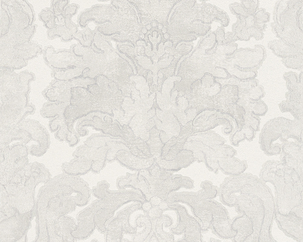 Floral Structures Wallpaper in Grey and Metallic design by BD Wall