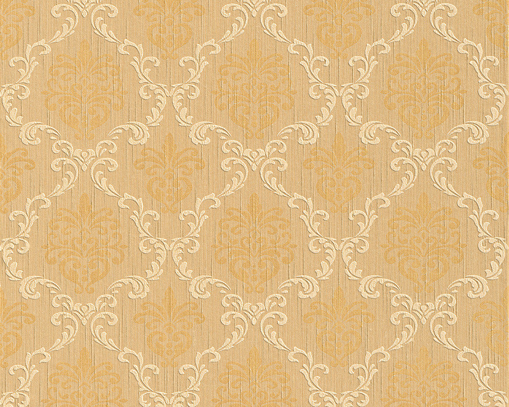 Sample Floral Trellis Wallpaper in Beige and Oranges design by BD Wall