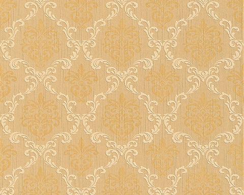 Floral Trellis Wallpaper in Beige and Oranges design by BD Wall