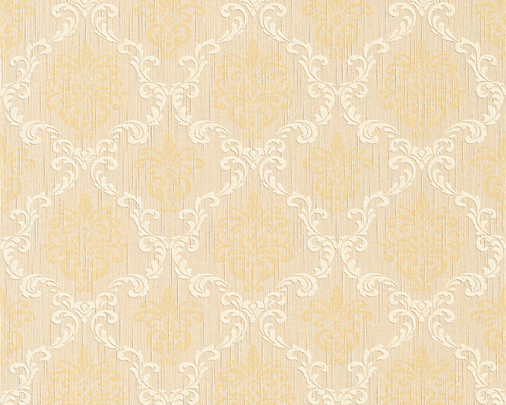Sample Floral Trellis Wallpaper in Beige and Yellows design by BD Wall