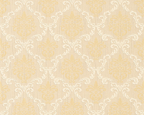 Floral Trellis Wallpaper in Beige and Yellows design by BD Wall