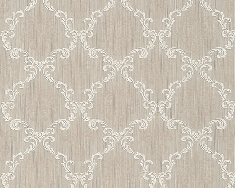 Floral Trellis Wallpaper in Beige design by BD Wall