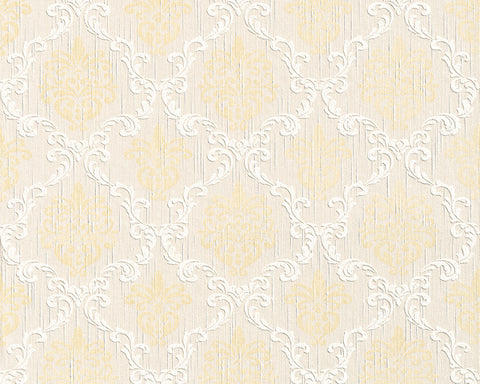 Floral Trellis Wallpaper in Cream and Beige design by BD Wall
