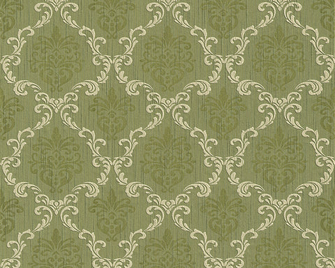 Floral Trellis Wallpaper in Green design by BD Wall