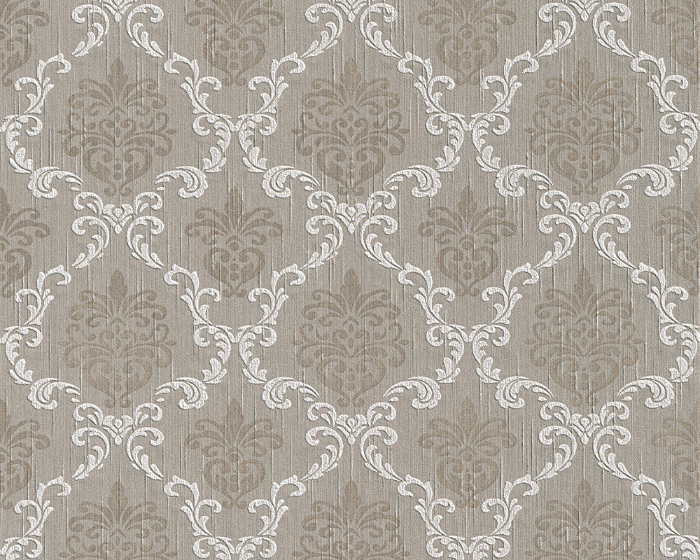 Sample Floral Trellis Wallpaper in Grey and Beige design by BD Wall