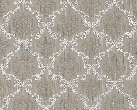 Floral Trellis Wallpaper in Grey and Beige design by BD Wall