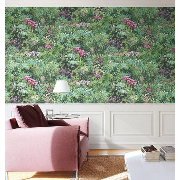 Floral Wallpaper in Green and Purple from the French Impressionist Collection by Seabrook Wallcoverings