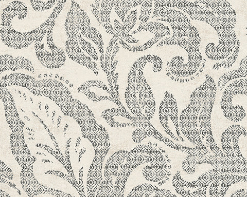 Floral Wallpaper in Black and Ivory design by BD Wall