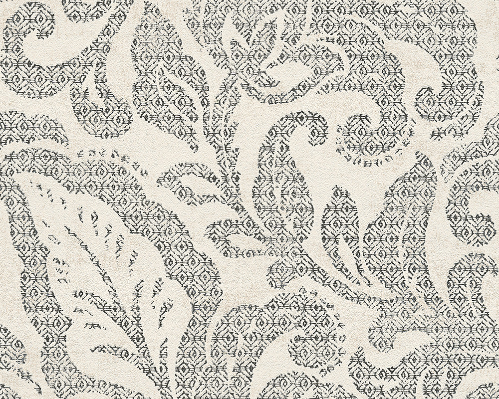 Sample Floral Wallpaper in Black and Ivory design by BD Wall