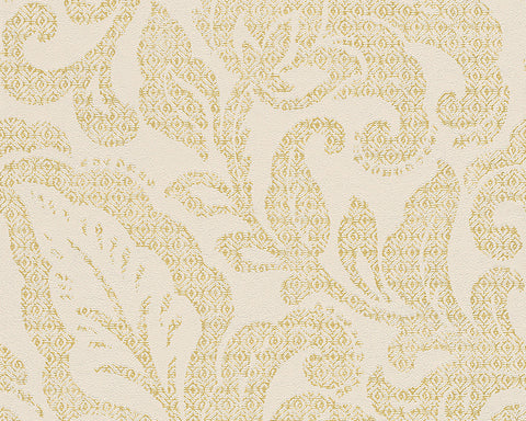 Floral Wallpaper in Cream and Metallic design by BD Wall