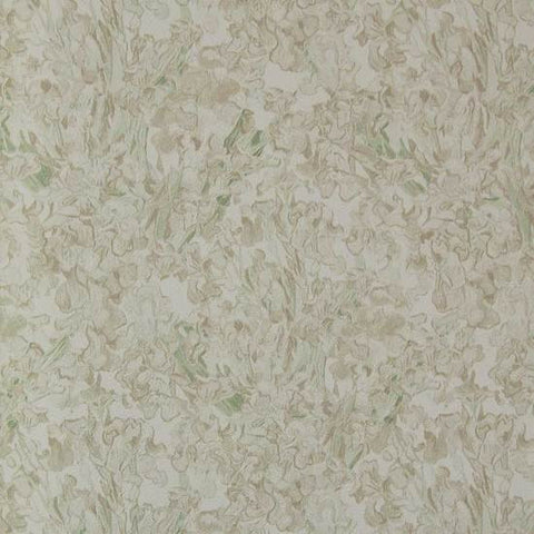Floral Wallpaper in Light Umber and Green from the Van Gogh Collection by Burke Decor