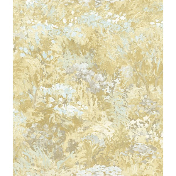 Sample Floral Wallpaper in Off-White and Yellow from the French Impressionist Collection by Seabrook Wallcoverings