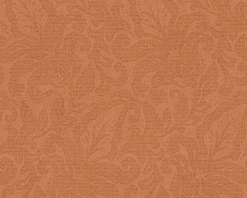 Floral Wallpaper in Orange and Metallic design by BD Wall