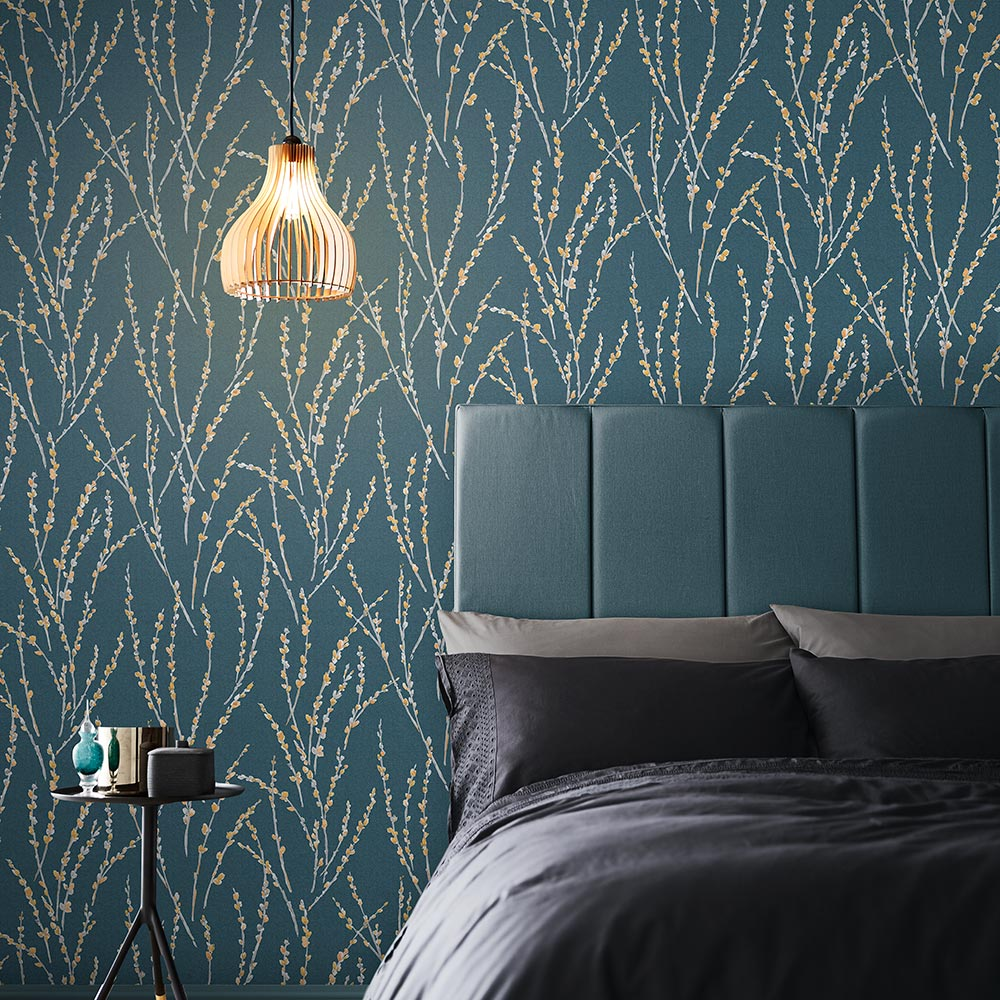 Floret Wallpaper in Teal from the Exclusives Collection by Graham & Brown