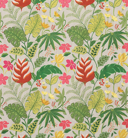 Floridita Fabric in Grass, Kiwi, and Linen by Matthew Williamson for Osborne & Little