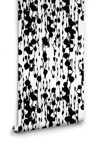 Sample Floss Delight Wallpaper in Black and White from the Ella & Sofia Collection by Milton & King