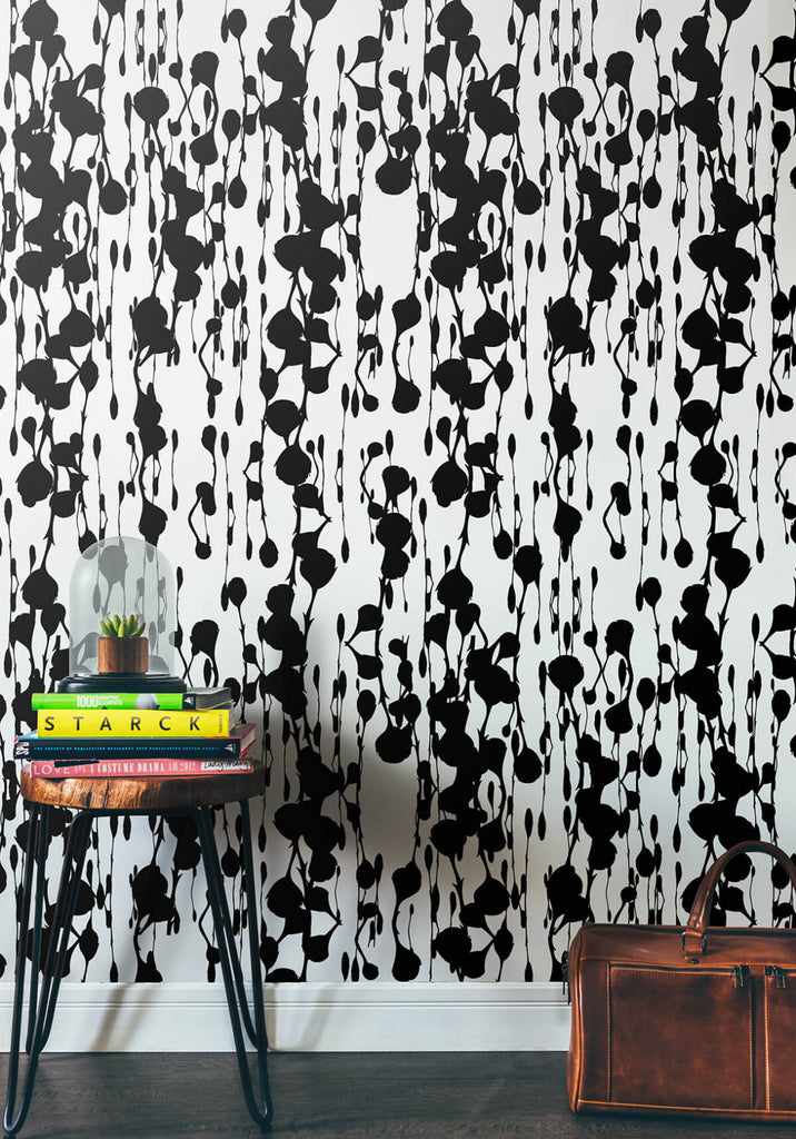 Floss Delight Wallpaper in Black and White from the Ella & Sofia Collection by Milton & King