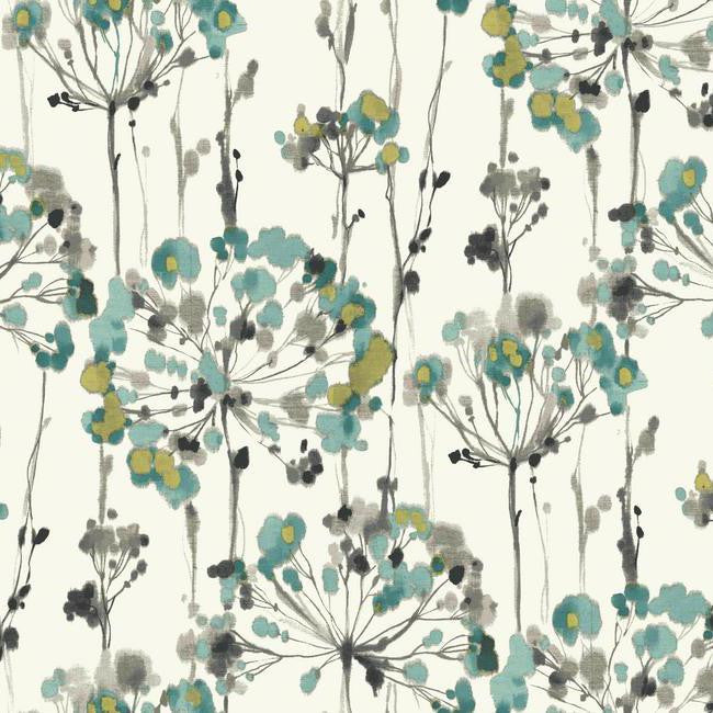 Sample Flourish Wallpaper in Blue design by Candice Olson for York Wallcoverings