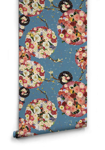 Flower Bomb Wallpaper in Blue from the Kingdom Home Collection by Milton & King