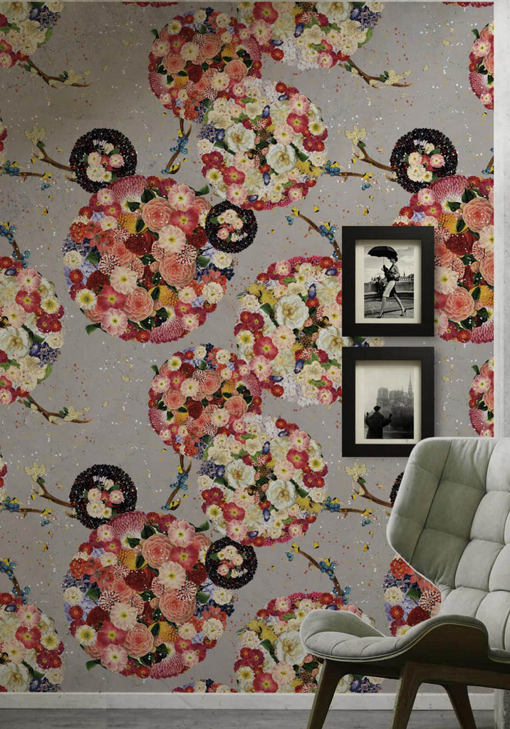 Flower Bomb Wallpaper in Grey from the Kingdom Home Collection by Milton & King