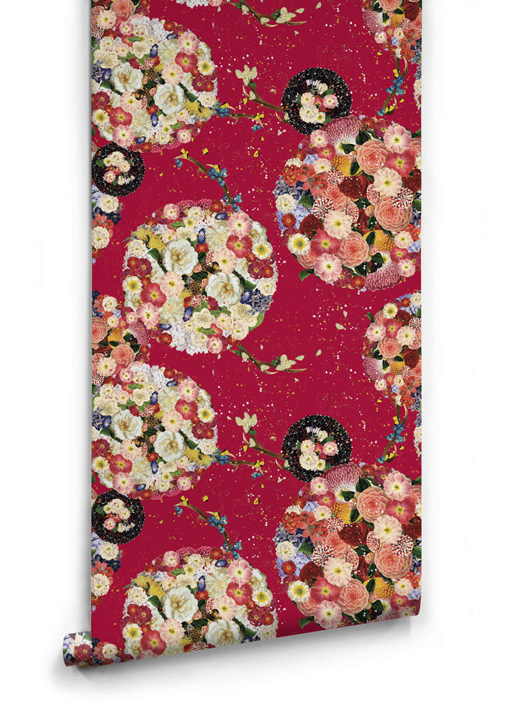Flower Bomb Wallpaper in Red from the Kingdom Home Collection by Milton & King