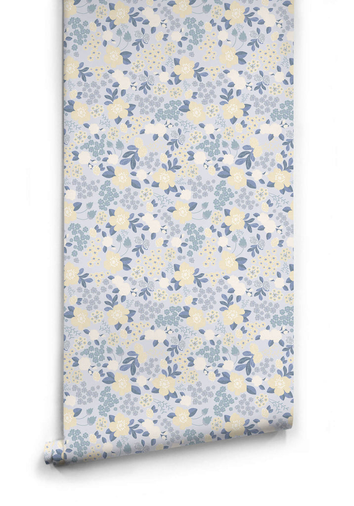 Sample Flower Garden Wallpaper in Blues from the Love Mae Collection by Milton & King