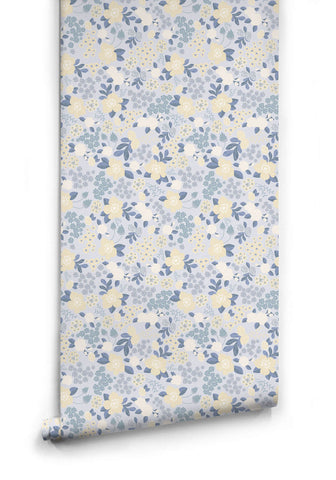 Flower Garden Wallpaper in Blues from the Love Mae Collection by Milton & King