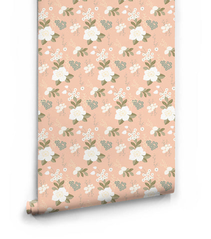 Flower Garden Wallpaper in Peachy from the Love Mae Collection by Milton & King