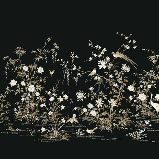 Flowering Vine Chino Wall Mural in Black from the Ronald Redding 24 Karat Collection by York Wallcoverings