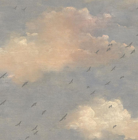 Fly South Wallpaper in Blue, Pink, and Grey from the Transition Collection by Mayflower