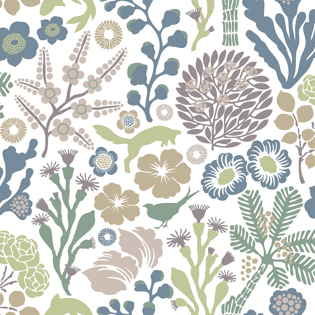 Flytta Green Fauna Wallpaper from the Wonderland Collection by Brewster Home Fashions