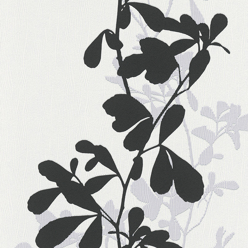 Sample Foliage Wallpaper in Black and Grey design by BD Wall