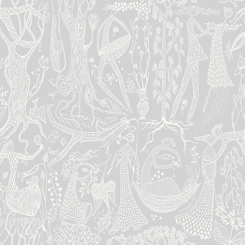Folk Light Grey Poem d'Amour Wallpaper from the Scandinavian Designers II Collection by Brewster