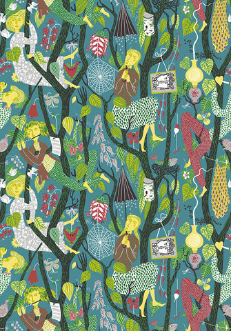 Folk Teal Melodi Wallpaper from the Scandinavian Designers II Collection by Brewster Home Fashions