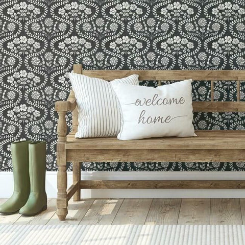 Folksy Floral Wallpaper in Black and White from the Simply Farmhouse Collection by York Wallcoverings