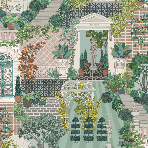 Follies Wallpaper in Green and Blush from the Mansfield Park Collection by Osborne & Little