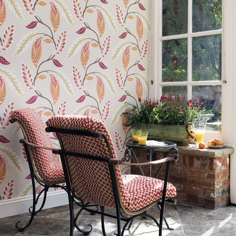 Fontibre Wallpaper In Crimson And Coral By Nina Campbell