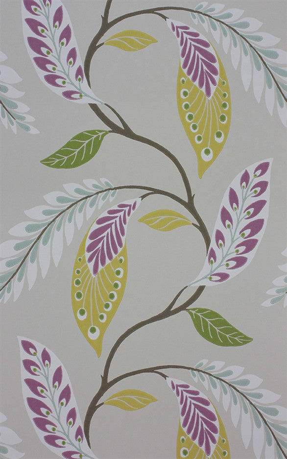 Fontibre Wallpaper in Amethyst and Green by Nina Campbell for Osborne & Little