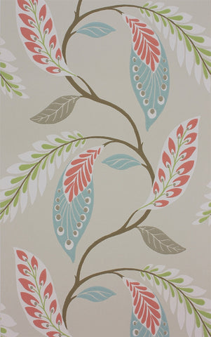 Fontibre Wallpaper in Aqua and Coral Red by Nina Campbell for Osborne & Little