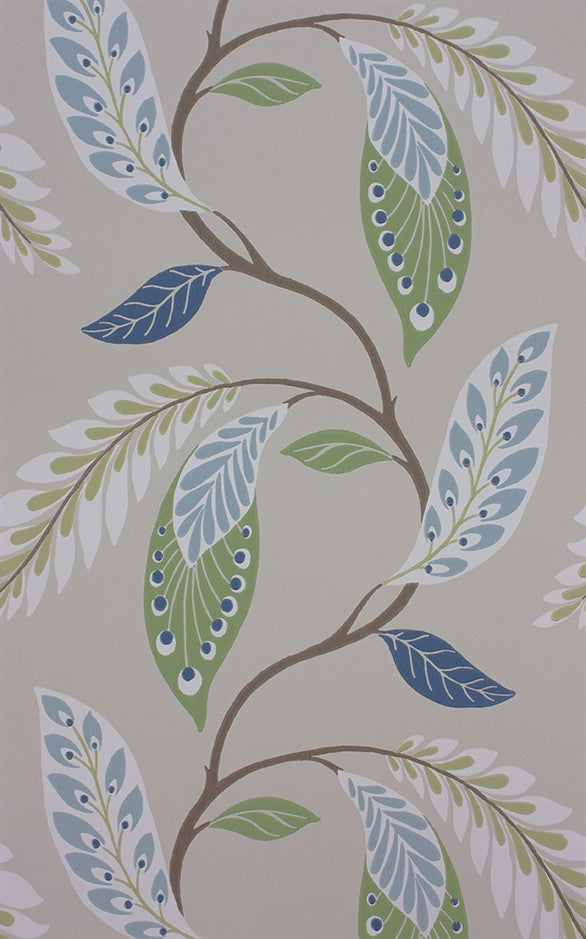 Fontibre Wallpaper in Blue and Green by Nina Campbell for Osborne & Little